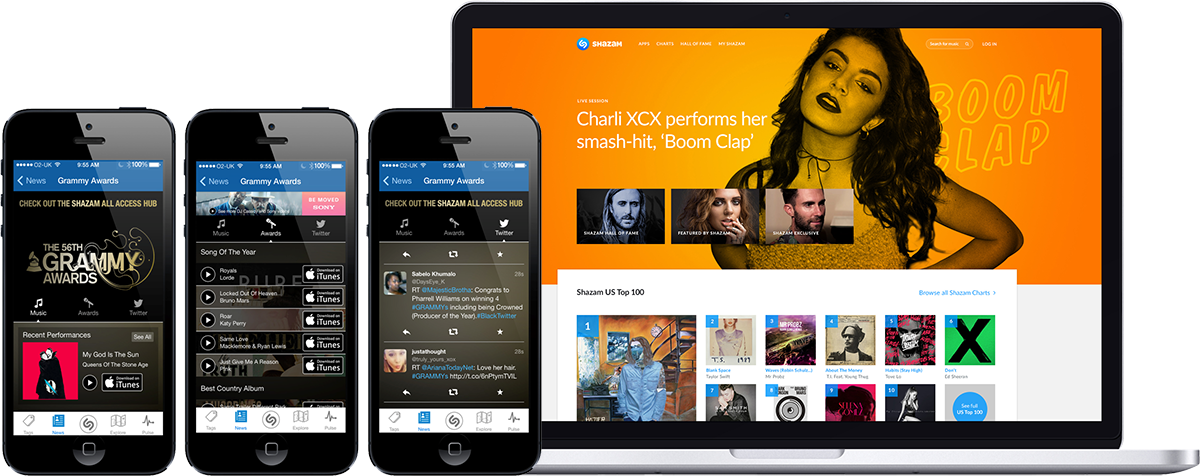 Shazam screenshot mobile and desktop