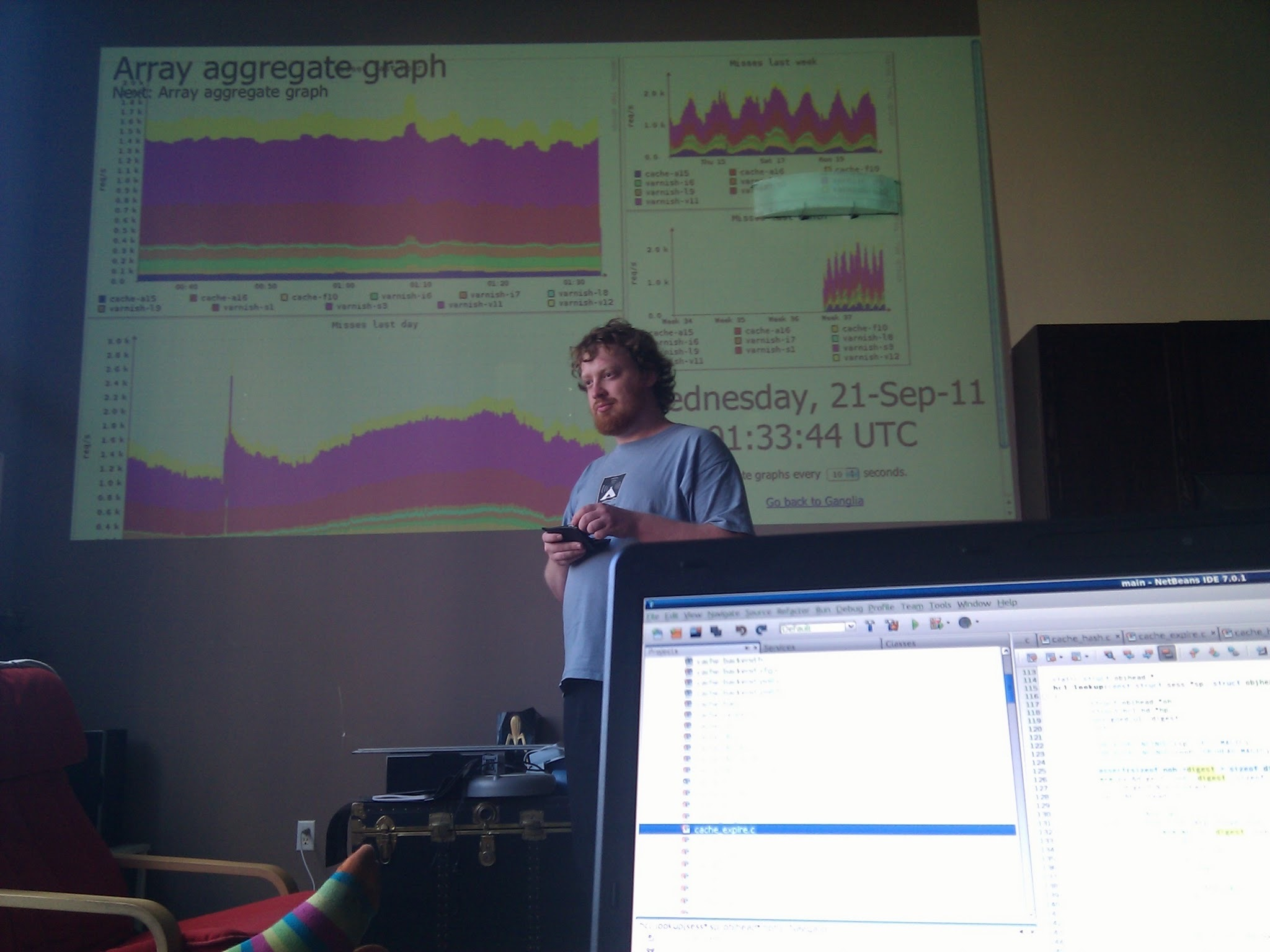 Artur runs a Fastly meeting from his living room in 2011.